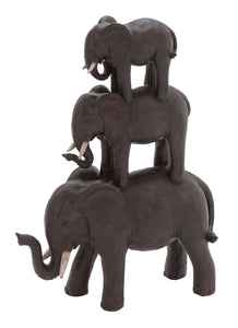 Trio Stack Of Poly Stone African Elephants