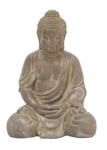 Finely Detailed Fiber Clay Buddha In Antiqued Yellow Finish