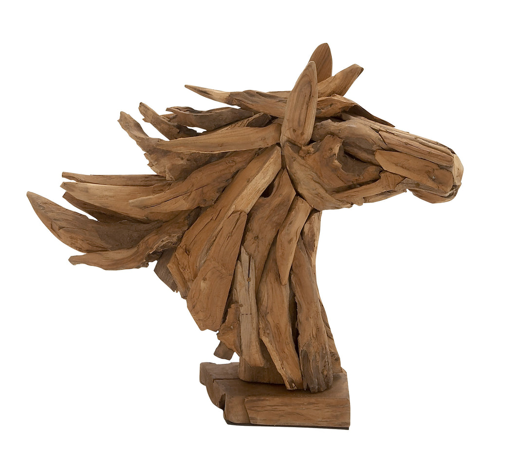 Simply Gorgeous Wood Teak Head Horse