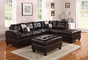Acme Kiva Ottoman with Storage, Espresso Bonded Leather Match