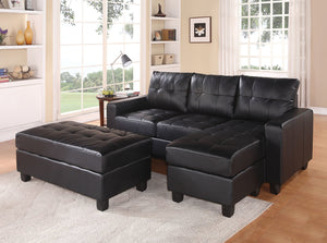 Acme Lyssa Sectional Sofa (Reversible Chaise) with Ottoman, Black Bonded Leather Match