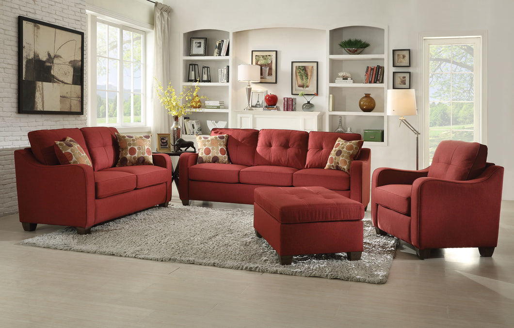 Acme Cleavon II Sofa with 2 Pillows, Red Linen
