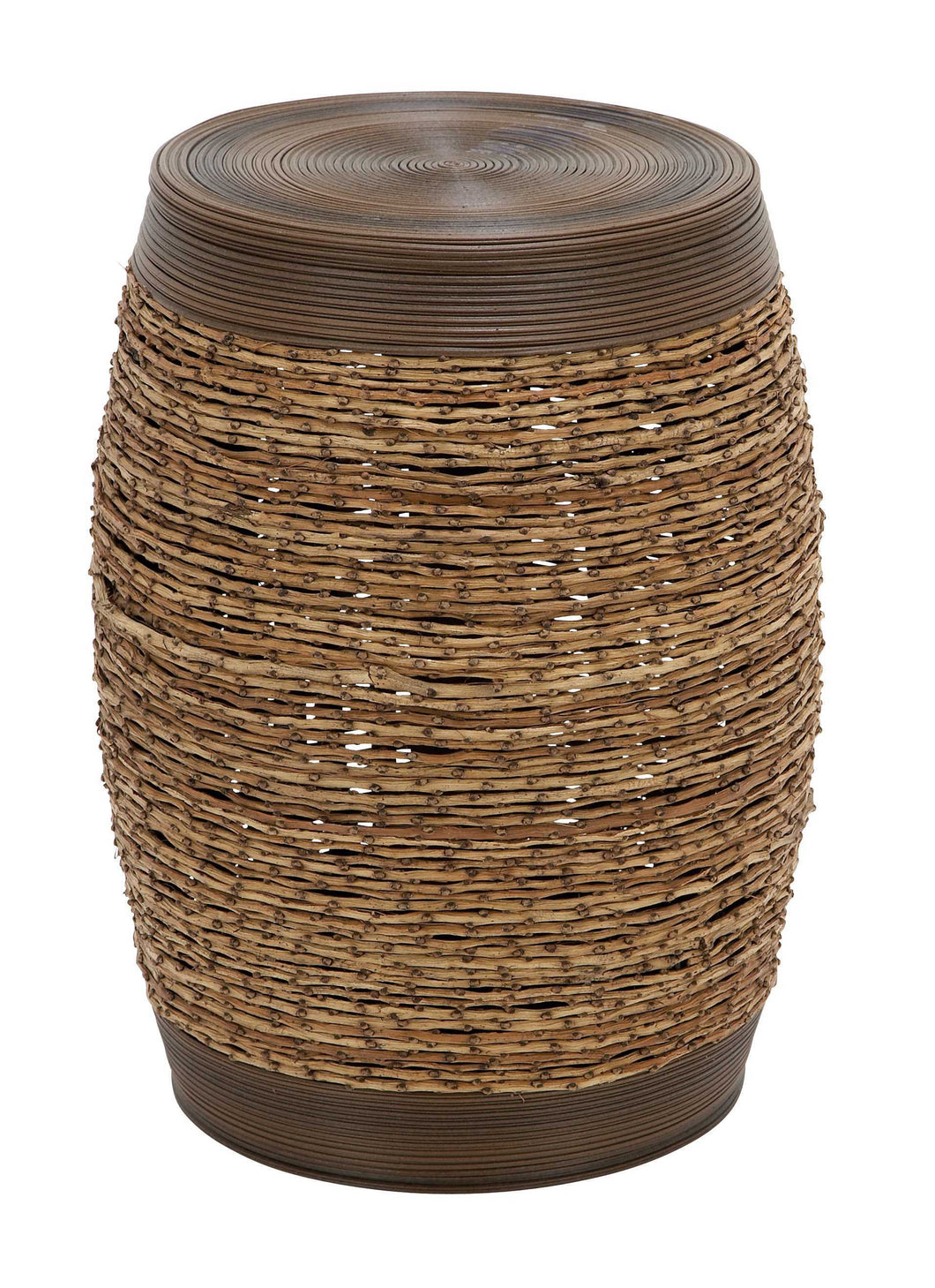 Bamboo Weave Stool In Unique Barrel Shape