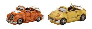 Orange And Yellow Polystone Car Piggy Bank 2 Assorted