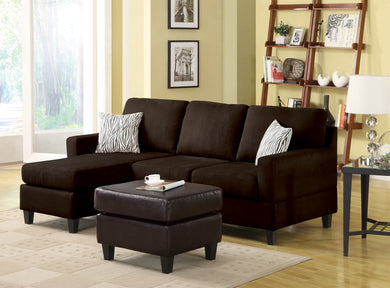 Acme Vogue Sectional Sofa (Reversible Chaise), Chocolate Microfiber