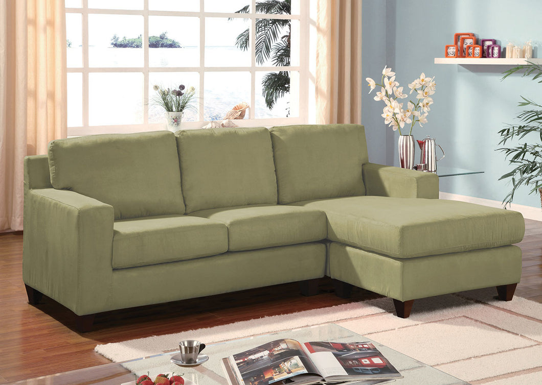 Acme Vogue Sectional Sofa (Reversible Chaise), Sage Microfiber