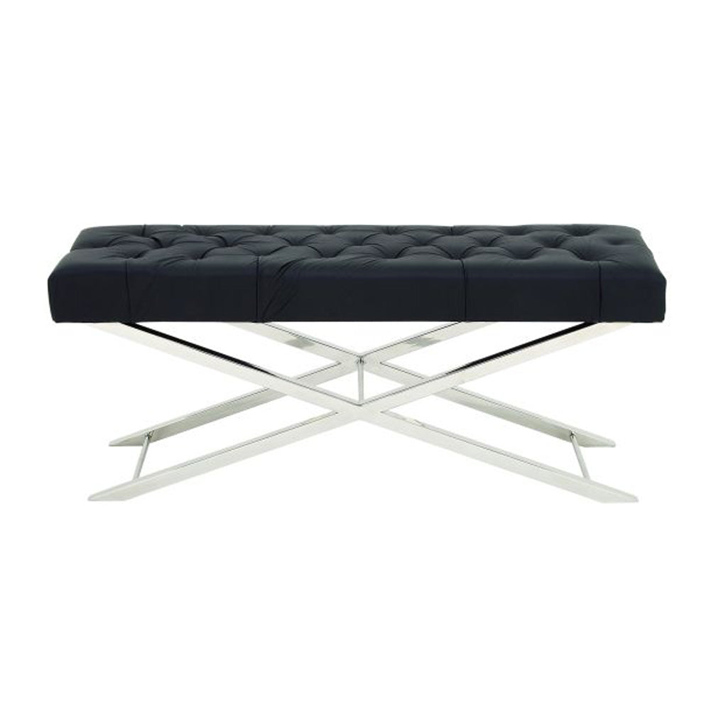 Amazing Stainless Steel Tufted Leather Bench
