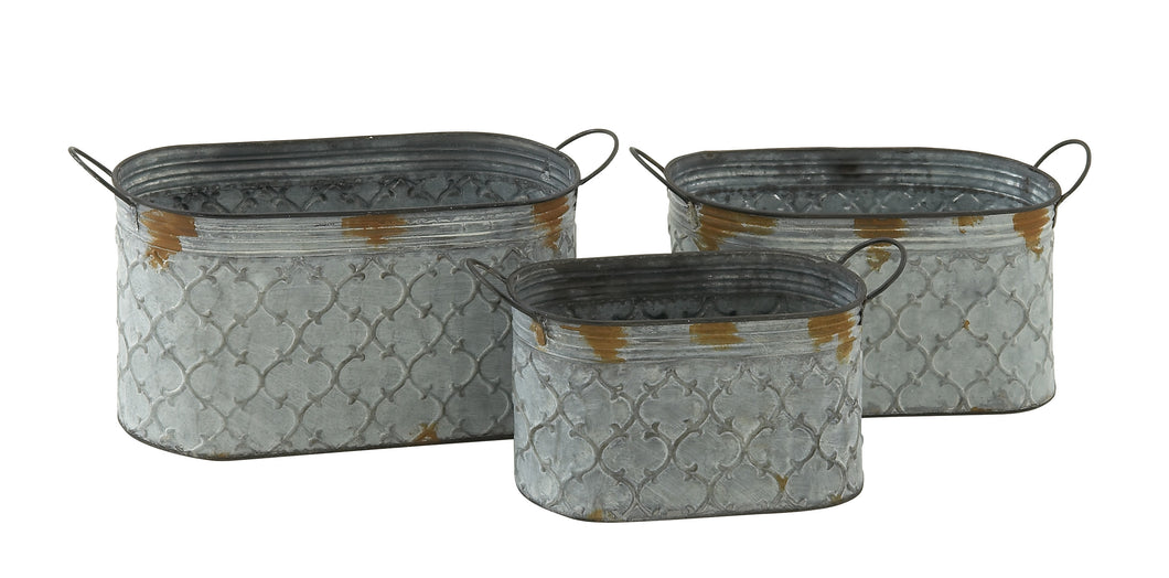 Charming Set Of 3 Metal Planter