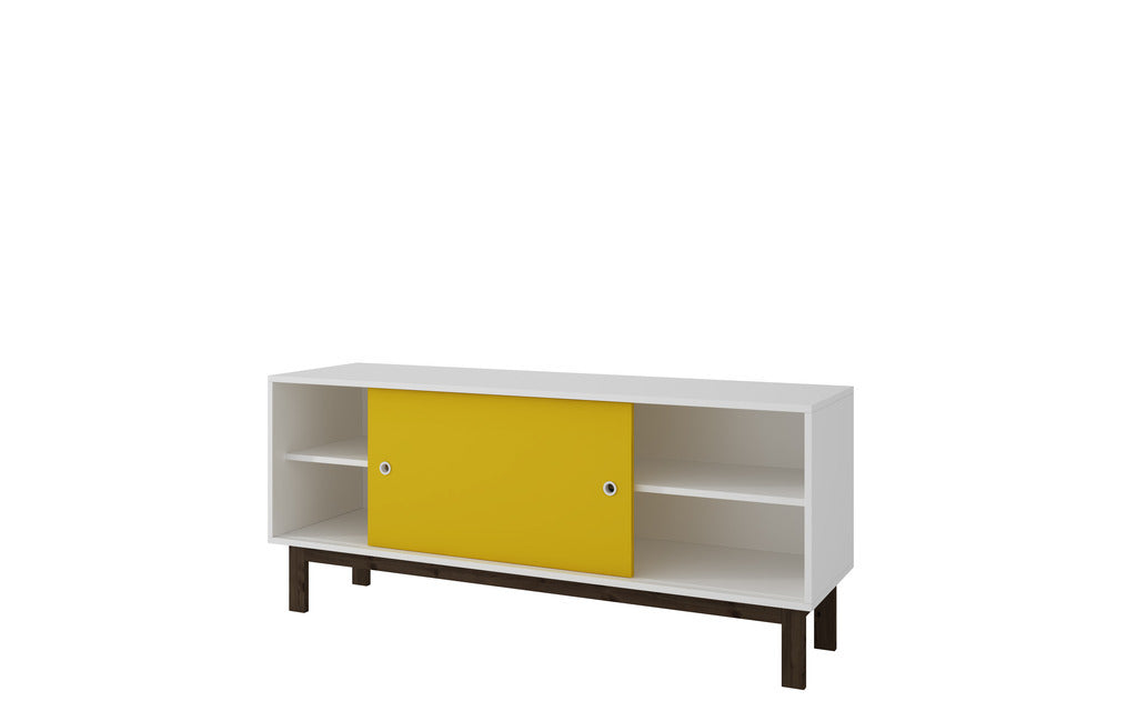 Accentuations by Manhattan Comfort Solna Splayed Leg TV Stand in White and Yellow.