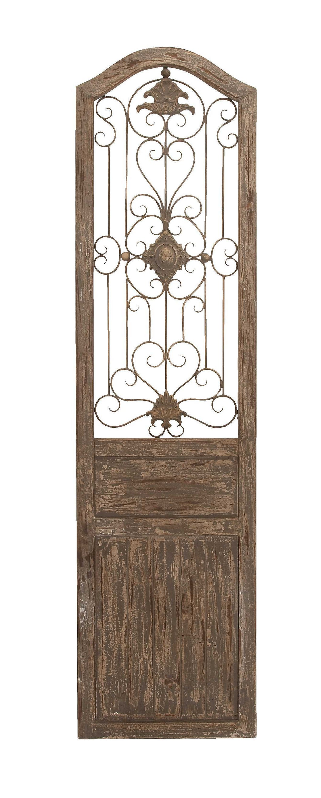 Garden Style Wooden Door With Scrolling Ironwork