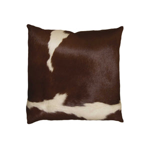 "Torino Kobe Cowhide Pillow 18"" X 18"" - Brown & White"