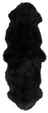 New Zealand Double Sheepskin Rug 2' X 6' - Black