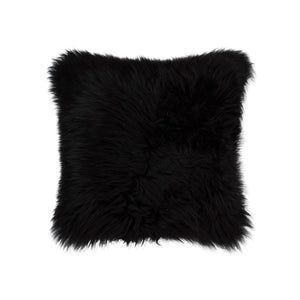 "New Zealand Sheepskin Pillow 18"" X 18"" - Black"