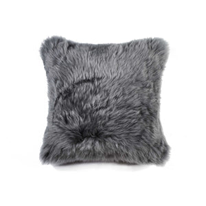 "New Zealand Sheepskin Pillow 18"" X 18"" - Grey"