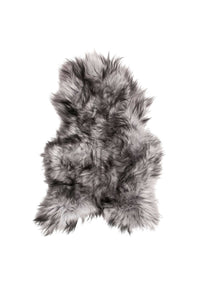 Icelandic Sheepskin Single Long-haired Rug Approx 2' X 3' - Metallic Silver