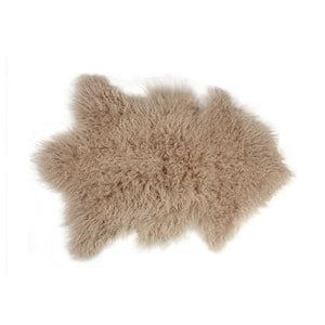 Mongolian Sheepskin Faux Fur Single Rug 2' X 3' - Tan