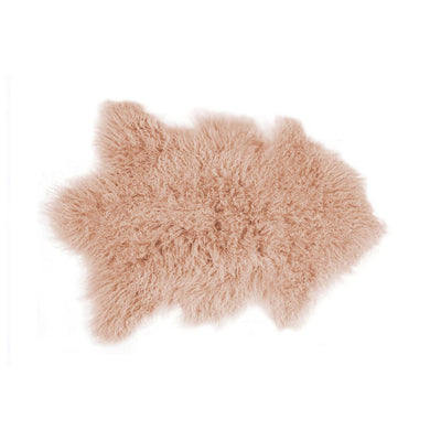 Mongolian Sheepskin Faux Fur Single Rug 2' X 3' - Dusty Rose