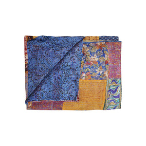 "Kantha Silk Throw Quilt Blanket 60""x90"""