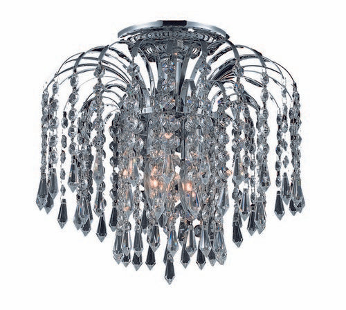 6801 Falls Collection Flush Mount D12in H12in Lt:3 Chrome Finish (Royal Cut Crystals)