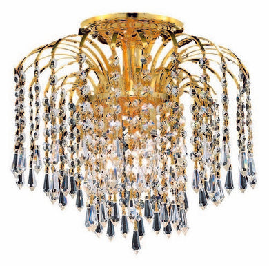 6801 Falls Collection Flush Mount D16in H16in Lt:4 Gold Finish (Swarovski Spectra Crystals)