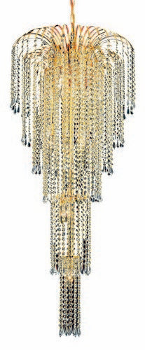 6801 Falls Collection Large Hanging Fixture D21in H50in Lt:9 Gold Finish (Swarovski Spectra Crystals)