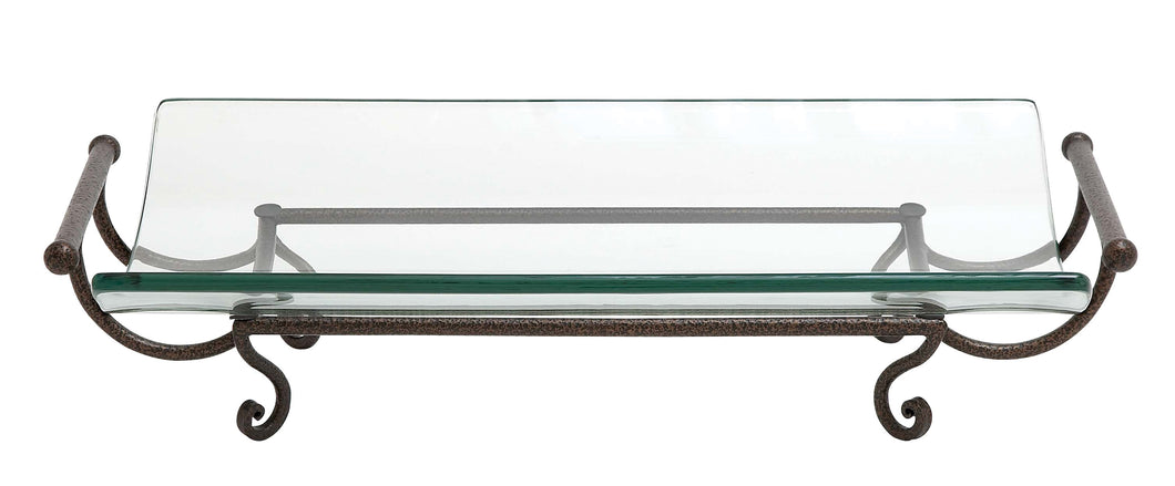 Glass Plate With Metal Stand And Handle