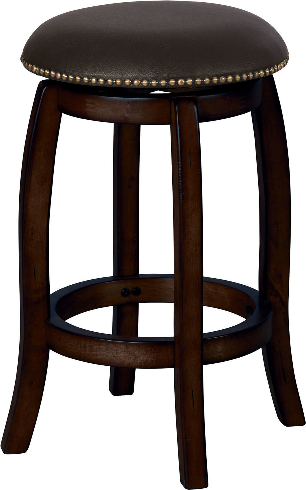 Acme Chelsea Bar Stool with Swivel, Black Leather & Espresso