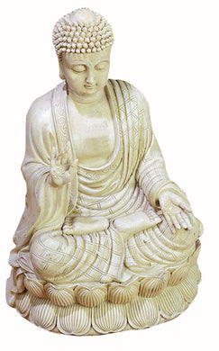 Antique White Polystone Buddha Beautifully Carved 12.75 Inches High