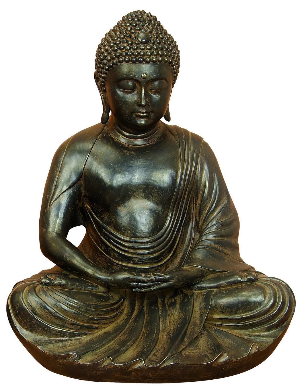 28 Inches Wide Polystone Buddha Gray Brown