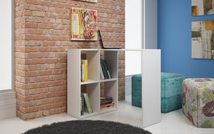 Accentuations by Manhattan Comfort Pescara  Cubby Desk  with 4 Shelves in White