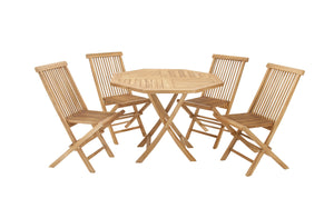 "Teak Wood Dining Set Of 5 42""W 30""H"