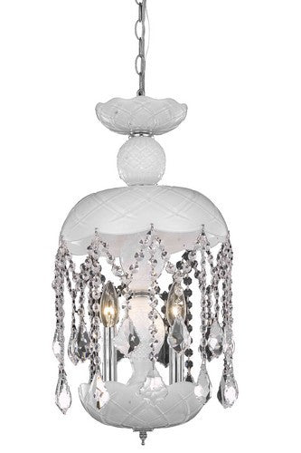 7803 Rococo Collection Hanging Fixture D11in H20.5in Lt:3 White Finish (Royal Cut Crystals)