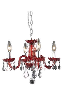 7804 Rococo Collection Hanging Fixture D15in H12in Lt:4 Red Finish (Royal Cut Red)