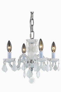 7804 Rococo Collection Hanging Fixture D15in H12in Lt:4 White Finish (Royal Cut White)