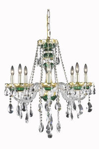 7810 Alexandria Collection Hanging Fixture D26in H28in Lt:8 Gold & Green Finish (Swarovski Strass/Elements Crystals)