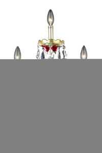 7810 Alexandria Collection Hanging Fixture W16in H22in E8.5' Lt:3 Gold & Red Finish (Elegant Cut Crystals)