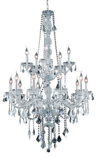 7815 Verona Collection Large Hanging Fixture D32in H52in Lt:15 Chrome Finish (Elegant Cut Crystals)