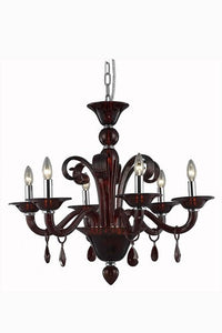 7866 Muse Collection Hanging Fixture D29in H23.5in Lt:6 Red Finish (Royal Cut Bordeaux Crystals)
