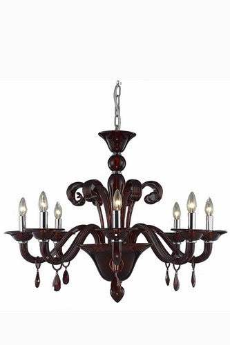 7868 Muse Collection Hanging Fixture D36in H28in Lt:8 Red Finish (Royal Cut Bordeaux Crystals)