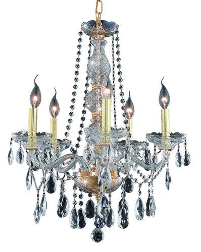 7955 Verona Collection Hanging Fixture D21in H26in Lt:5 Gold Finish (Royal Cut Crystals)