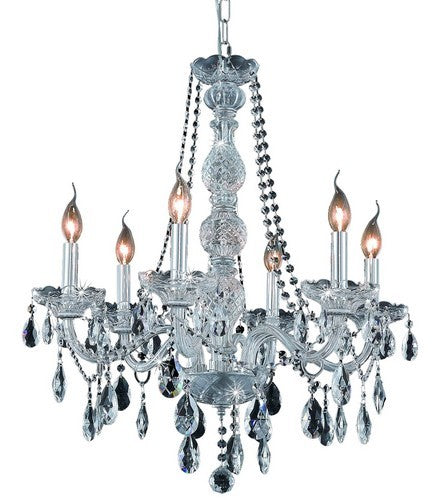7956 Verona Collection Hanging Fixture D24in H28in Lt:6 Chrome Finish (Royal Cut Crystals)