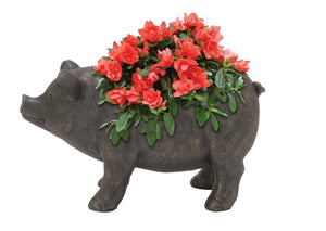 "Attractive Polyresin Pig Flower Pot 18""W 10""H"