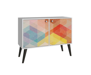 Accentuations by Manhattan Comfort Funky Avesta Side Table 2.0  with 3 Shelves in a White Frame with a Colorful Stamp Door