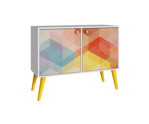 Accentuations by Manhattan Comfort Funky Avesta Side Table 2.0  with 3 Shelves in a White Frame with a Colorful Stamp Door and Yellow Feet