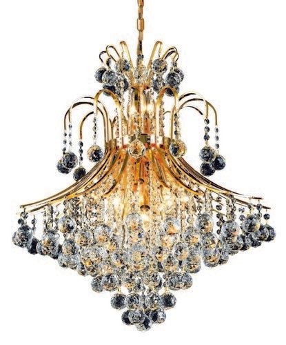 8003 Toureg Collection Hanging Fixture D25in H31in Lt:15 Gold Finish (Swarovski Spectra Crystals)