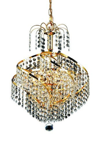 8052 Spiral Collection Hanging Fixture D14in H16in Lt:3 Gold Finish (Royal Cut Crystal)