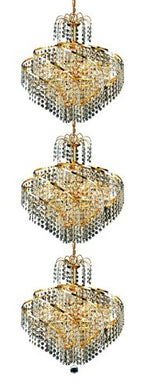 8052 Spiral Collection Large Hanging Fixture D18in H56inin Lt:24 Gold Finish (Strass/Elements)