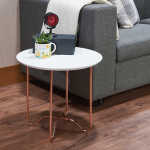 ACME Canty End Table in White & Rose Gold