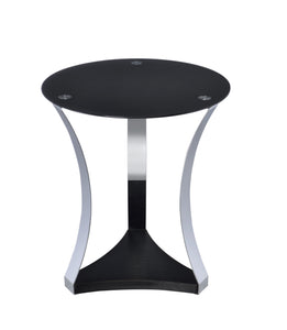 ACME Geiger End Table in Black Glass & Chrome