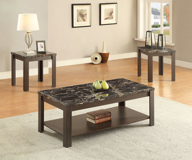 Acme Afton 3Pc Pack Coffee/End Table Set, Faux Marble & Walnut